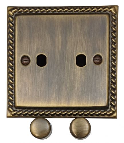 G&H MAB12-PK Monarch Roped Antique Bronze 2 Gang Dimmer Plate Only inc Dimmer Knobs